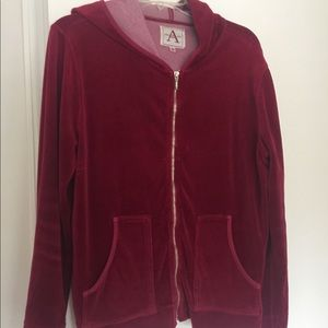 Ruby red rich velour hooded jacket & pant med